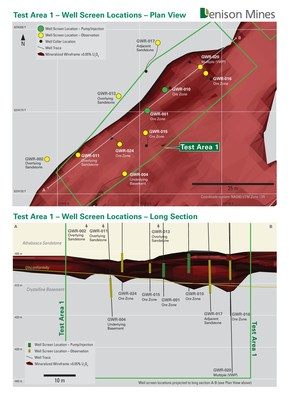 Figure 2. Plan map and long section showing Pump/Injection and Observation wells completed for ISR field testing in Test Area 1. (CNW Group/Denison Mines Corp.)